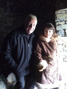 Orla and Fr. Eoghan in the beehive hut