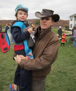 Conall and Dad, Trick-or-Treating at Marist